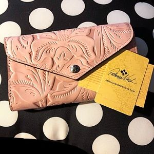 Patricia Nash Pink Leather Envelope Style Wallet